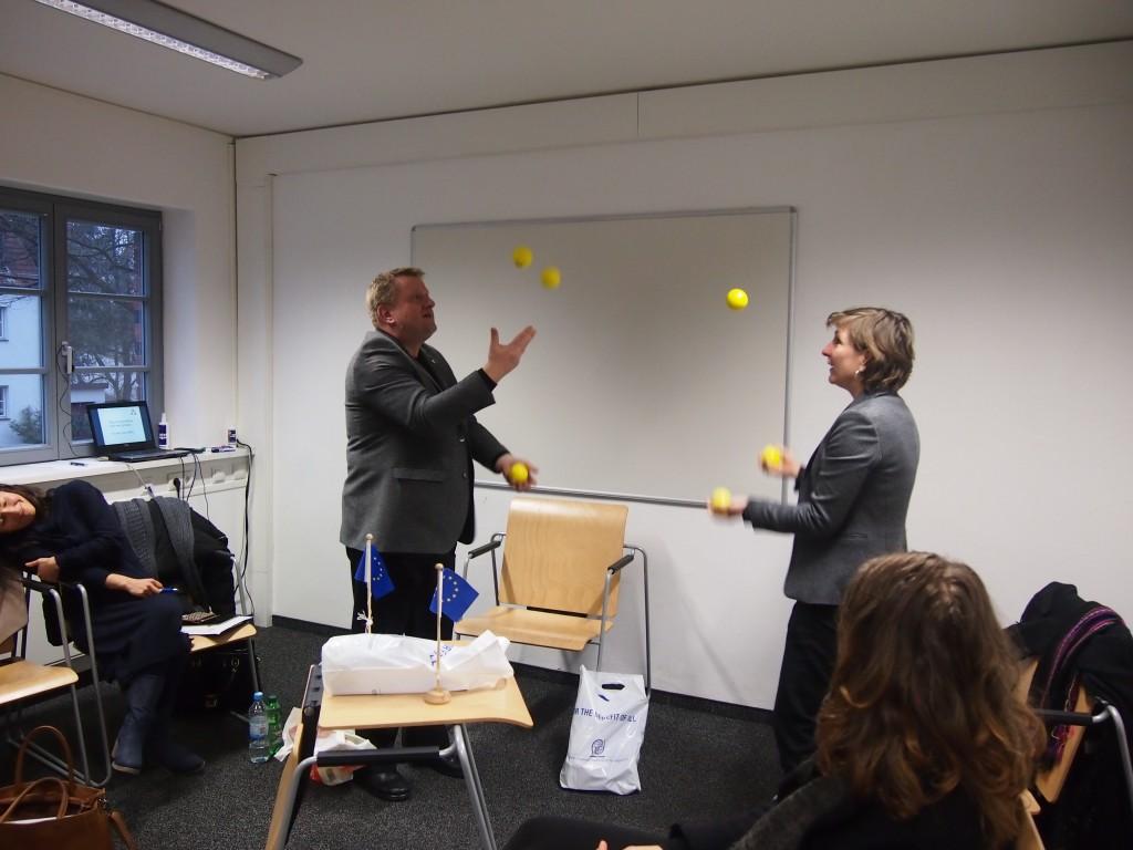 "Ms Chantal Berkens (project leader COA) and Mr Aliochin (COO AAU e.V.): ""We will go on passing the balls."""